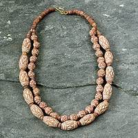 Bauxite and ceramic beaded necklace, 'Beautiful to Wear' - Bauxite and ceramic beaded necklace