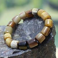 Bull horn stretch bracelet, 'Korleki in Brown' - Beaded Horn Bracelet
