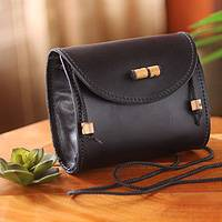 Leather shoulder bag, 'Never Without Black' - Handcrafted Black Leather Shoulder Purse