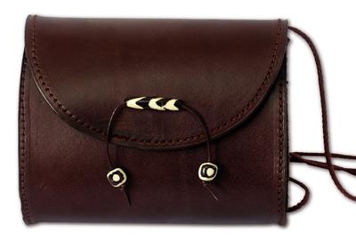Leather shoulder bag, 'Never Without Brown' - Unique Leather Shoulder Bag from Africa