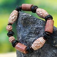 Ceramic and bauxite beaded bracelet, 'Lovely Lady' - Ceramic Bauxite Beaded Bracelet