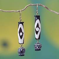 Terracotta and bone dangle earrings, 'No Racism' - Terracotta and bone dangle earrings