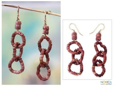 Bauxite dangle earrings, 'Ghanaian Unity' - Bauxite dangle earrings