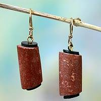 Bauxite dangle earrings, 'Akan Heart' - Bauxite dangle earrings