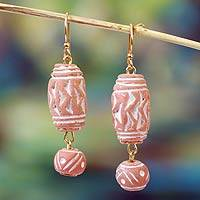 Terracotta beaded earrings, 'Dondo Beat' - Hand Made African Ceramic Dangle Earrings