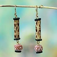 Bamboo and terracotta dangle earrings, 'Adwenepa' - Handmade Ceramic and Bamboo Dangle Earrings