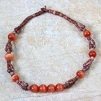 Bauxite beaded necklace, 'Afriyie' - Bauxite and Cat's Eye Beaded Necklace