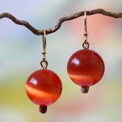 Beaded earrings, 'Afriyie' - Artisan Crafted Cat's Eye Earrings