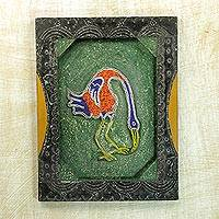 Beaded wood wall panel, 'Lovely Bird' - Hand Beaded Wall Panel