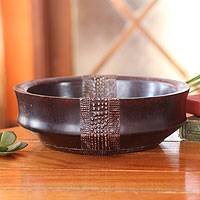 Wood and aluminum decorative bowl, 'The King's Possession' - Wood and Aluminum Decorative Bowl