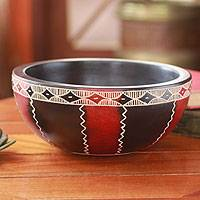 Wood decorative bowl, 'African Lace' - Wood Decorative Bowl from Africa