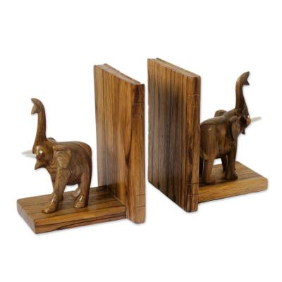 Hand Carved Wood Bookends from Africa (Pair)