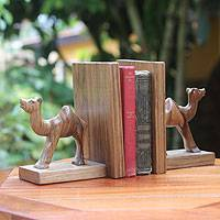 Wood bookends, 'Happy Camels' (pair) - Hand Carved Wood Bookends (Pair)