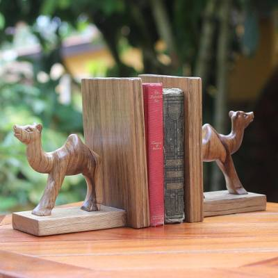 Wood bookends, Happy Camels (pair)