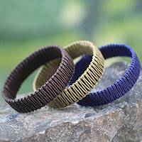 Cotton and linen bangle bracelets,
