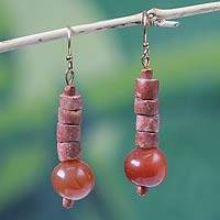 Bauxite and agate dangle earrings, 'Healing Glow' - Unique Bauxite and Agate Earrings