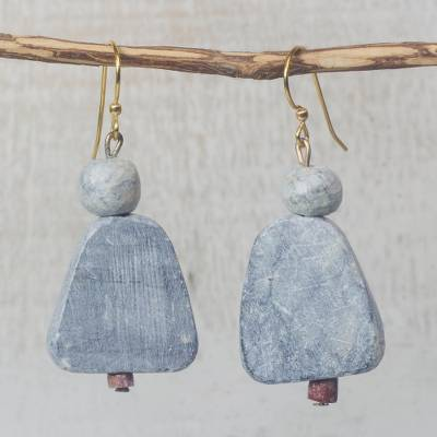 Soapstone dangle earrings, Woman of Law