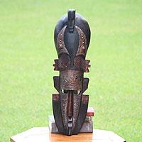 African wood mask, 'Chameleon' - Artisan Carved Ghanaian Wood Mask