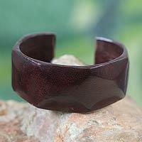 Leather cuff bracelet Dasba in Dark Brown (Ghana)