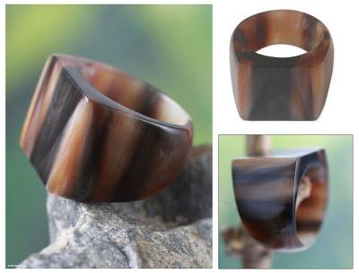 Bull horn cocktail ring, 'Eagle Honor' - Unique Horn Cocktail Ring