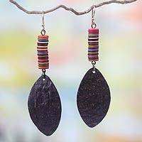 Coconut shell dangle earrings, 'Tropical Charm' - Coconut shell dangle earrings