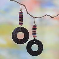 Coconut shell dangle earrings, 'Tropical Delight' - Coconut shell dangle earrings