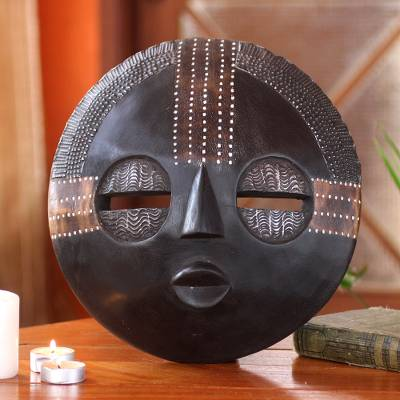 Ghanaian wood mask, Kokobene Luck