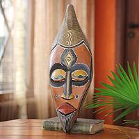 Ghanaian wood mask, 'Living Colors' - African wood mask
