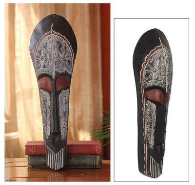 Ghanaian wood mask, 'King's Straight' - African Hand Carved Wood Mask