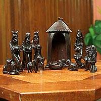 Wood nativity scene, 'Gift of the Ghanaian Magi II' - Handcrafted Nativity Scene Sculpture