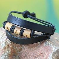 Men's leather wristband bracelet, 'Double Up in Black' - Men's Leather and Bamboo Wristband Bracelet