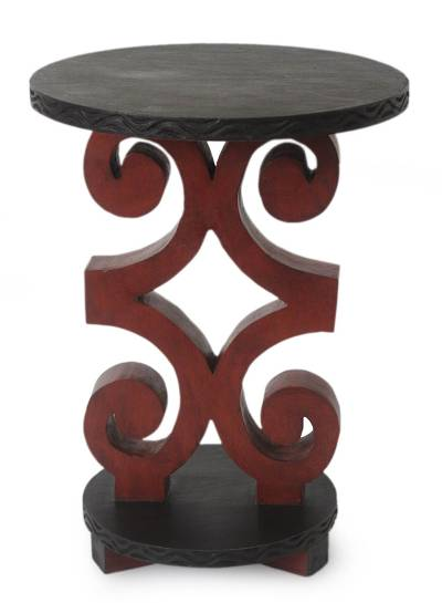 Wood accent table, 'African Ram's Horn' - African Wood Accent Table