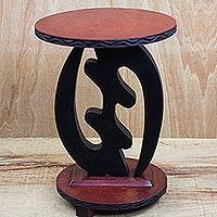 Wood accent table, 'God is Supreme' - Wood Accent Table from West Africa