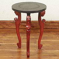 Wood accent table, 'African Mother' - Hand Made Wood Accent Table
