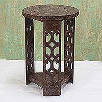 Wood accent table, 'Strength and Humility' - Unique Wood Accent Table from Africa