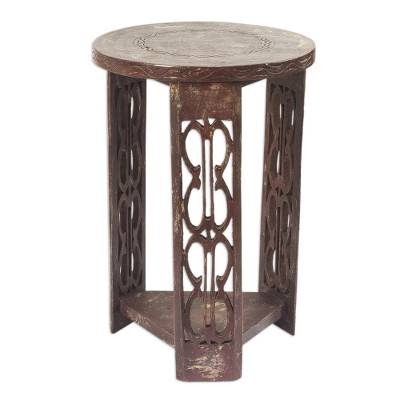 Wood side table, 'African Endurance' - Wood side table