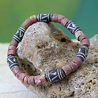 Bauxite and ceramic stretch bracelet,