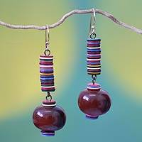 Bull horn dangle earrings, 'Colors of Joy' - Bull horn dangle earrings