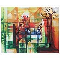 'Peace Village' - African Cubist Painting
