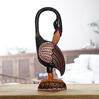 Wood sculpture Sankofa Bird Message Ghana