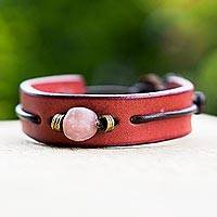 Men's leather wristband bracelet, 'Red Standout' - Men's Unique Modern Leather Wristband Bracelet