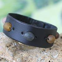 Men's leather wristband bracelet, 'Black Beaded Feast' - Men's leather wristband bracelet