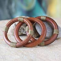 Wood bangle bracelets, 'Fulani Muse in Khaki' (set of 3) - Wood Bangle Bracelets (Set of 3)