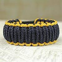 Men's wristband bracelet, 'Amina in Gold and Navy' - Men's Wristband Bracelet