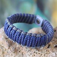 Men's wristband bracelet, 'Amina in Blue and Gray' - Men's Handmade Wristband Bracelet