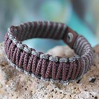 Men's wristband bracelet, 'Amina in Brown and Gray' - Men's wristband bracelet