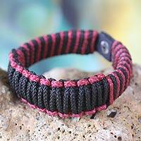 Men's wristband bracelet, 'Amina in Black and Wine' - Men's African Wristband Bracelet