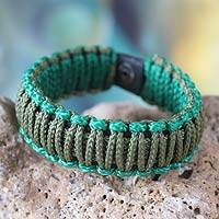 Men's wristband bracelet, 'Amina in Olive and Emerald' - Men's wristband bracelet