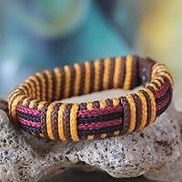 Men's wristband bracelet, 'Mystique of Africa' - Men's wristband bracelet