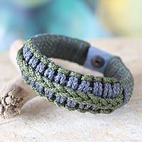 Men's wristband bracelet, 'Gray and Green Hausa' - Men's wristband bracelet